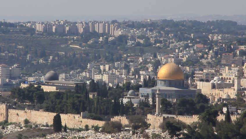 View of Jerusalem with Dome of the Rock in foreground - HD stock video clip