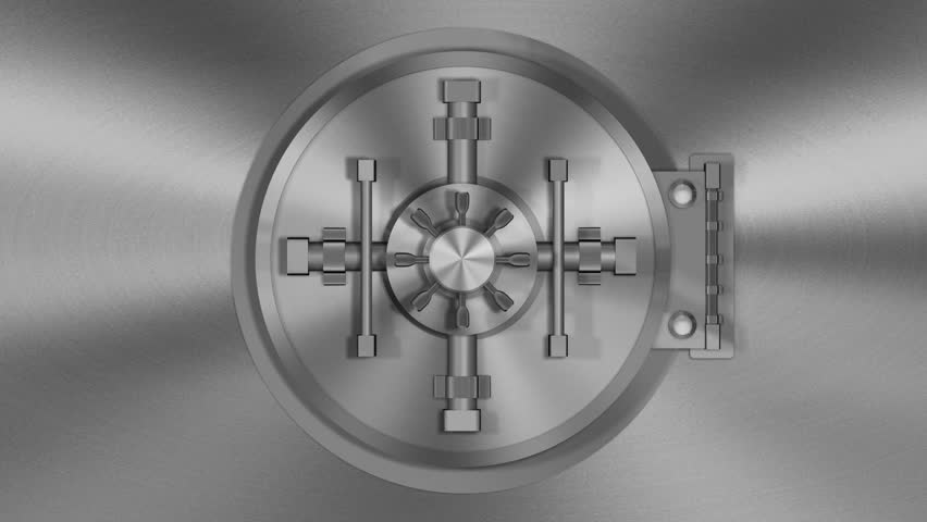 Bank Vault Transition (HD Video). 720p rendition of a 3D transition of a bank vault door opening with the camera following inside. Green screen is provided in the opening.