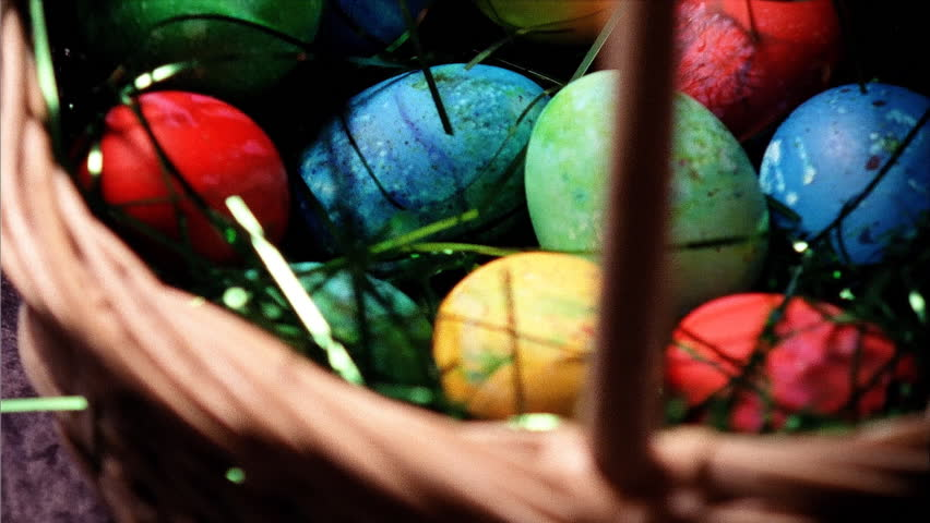 Colored Easter eggs - HD stock video clip