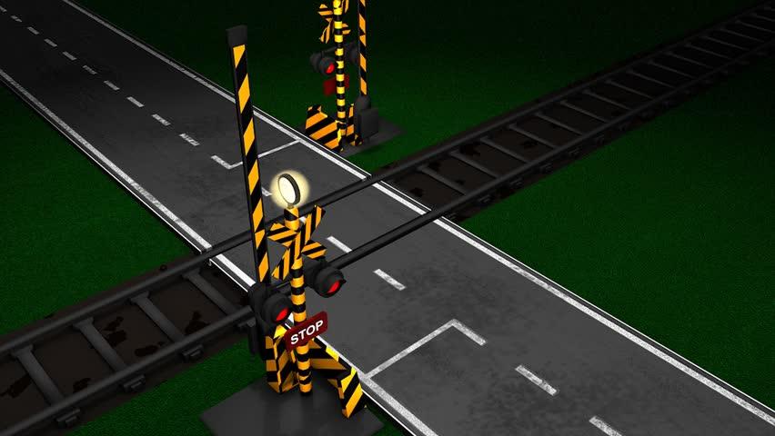 Railroad crossing animation.  - HD stock footage clip