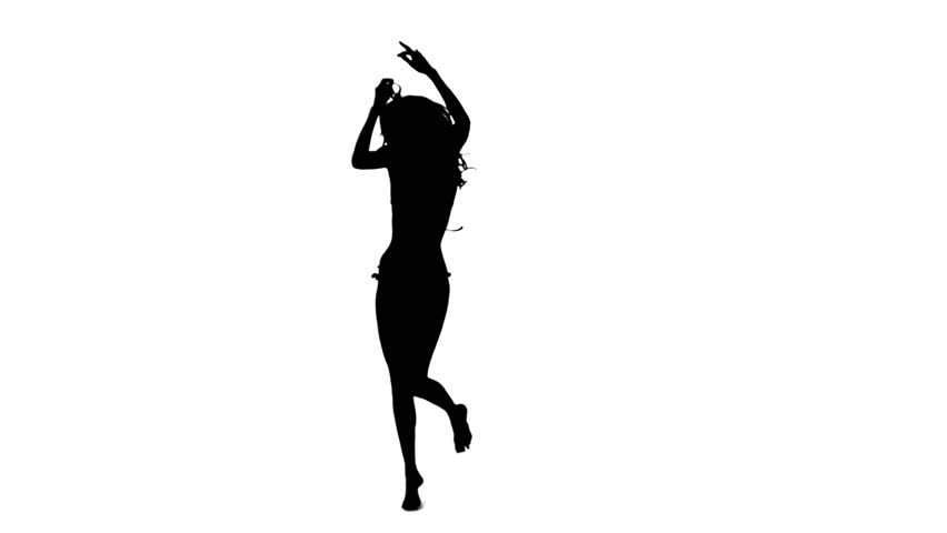 Silhouette Woman Dancing In Slow Motion Against A White ...