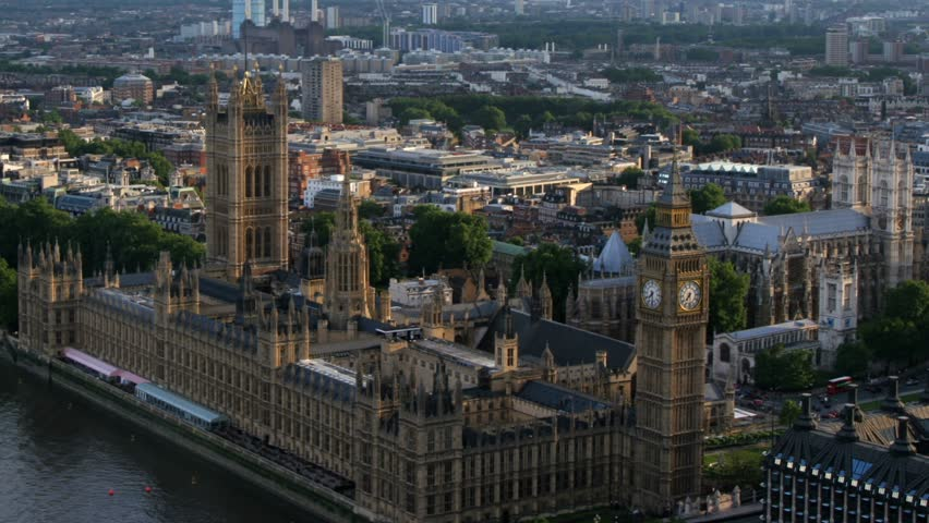 London - Circa 2010: Houses of Parliment in 2010. Timelapse aerial of British House of Parliament, London, England.