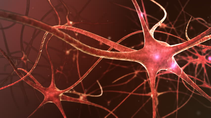 Neuron network. V.3 Neurons structure sending electric impulses and communicating each other. 3D animation.