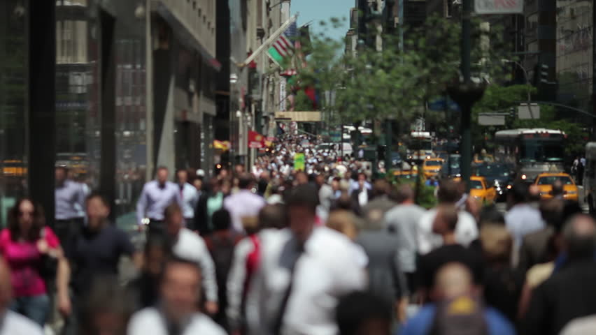 Anonymous Crowd Of People Walking In New York City Slow ...