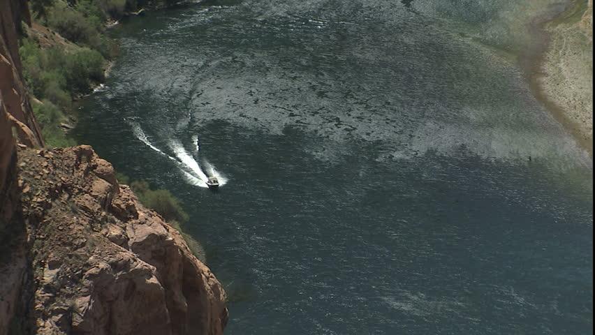 boat running up Colorado river