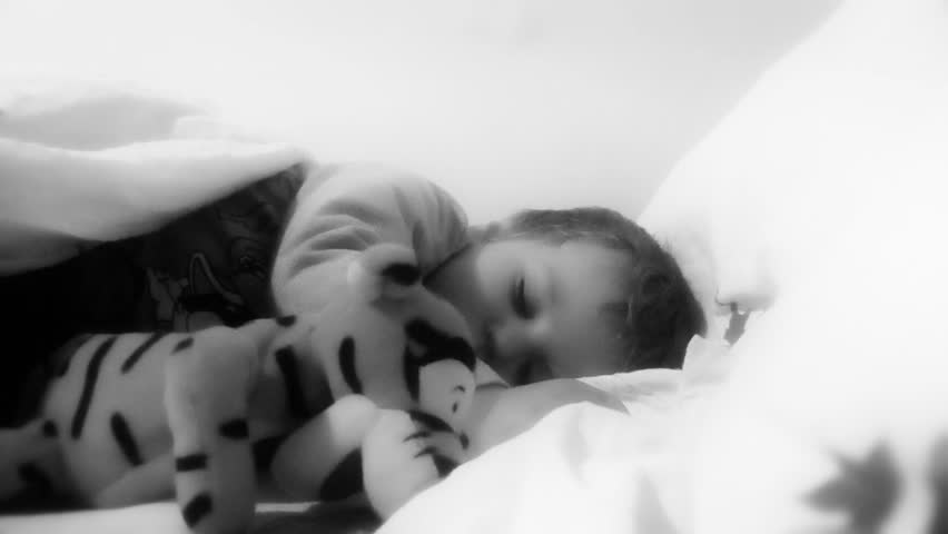 Baby Boy Sleeping, zoom in,black and white - HD stock video clip