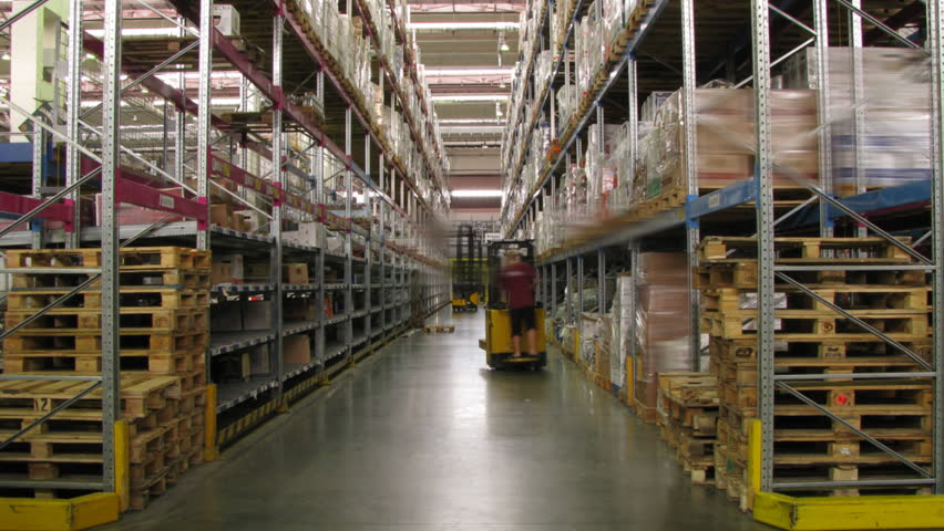 Forklifts Moving In A Warehouse Stock Footage Video 232630