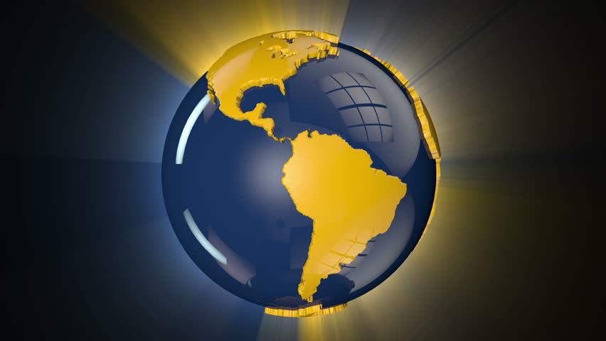 Earth Globe Blue and Yellow Rotating, loop, shine