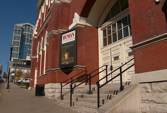 NASHVILLE - Circa 2002: Facade of the Ryman Auditorium. The Auditorium used to be the Grand Ole Opry House and Union Gospel Tabernacle. - SD stock footage clip