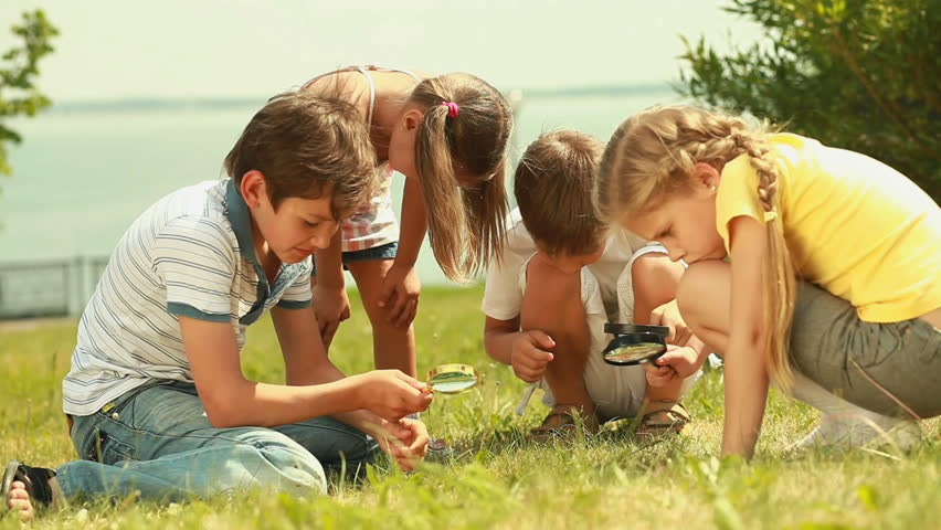 Cute kids with magnifying glasses studying the world around - HD stock footage clip
