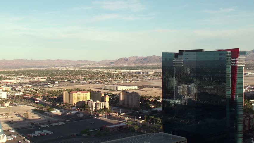 Outskirts of Las Vegas. Bird's-eye view. Plane taking off. - HD stock footage clip