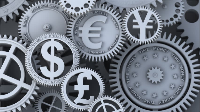 Business video background. Fantasy silver clockwork with gears currency signs, dollar symbol, pound, yen and euro. Loopable finance 3d animation. HDTV 24fps