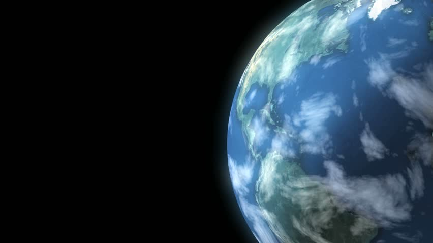 Earth Loop. This animation of planet Earth loops seamlessly. Copy space on left. - HD stock footage clip