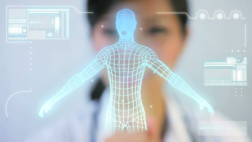Commercial images Asian Chinese doctor digital motion graphic virtual 3D of running man for medical and scientific research data