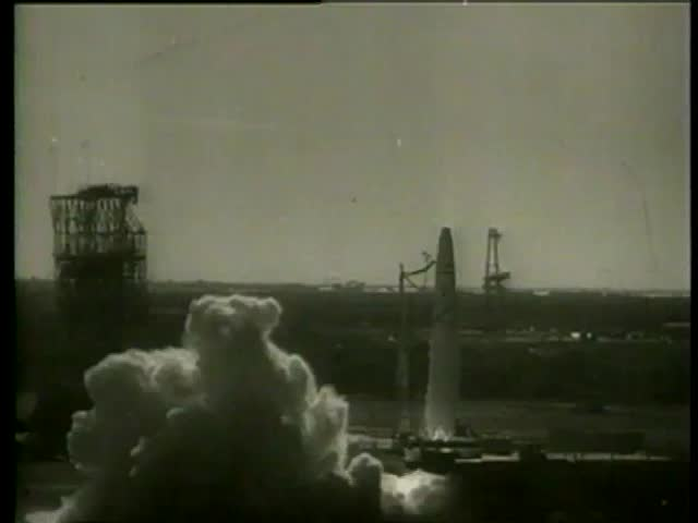 An american long-range rocket launch in Cape Canaveral, Florida circa 1958 - MGM PICTURES, UNIVERSAL-INTERNATIONAL NEWSREEL, USA, filmed in 1958