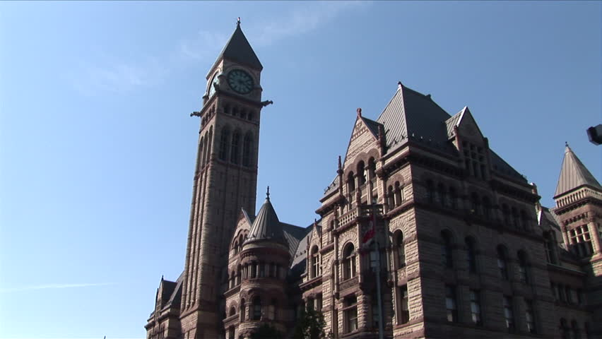 Toronto, Canada - CIRCA October, 2007: Low angle of the Old City Hall building as seen during the day - HD stock footage clip