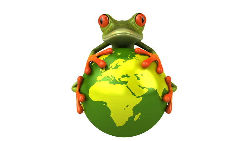 Frog protecting the world - HD stock footage clip