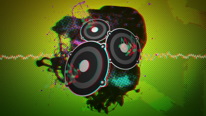 Anaglyph Stereoscopic 3D Music Themed Animation - Bass & Drum - Suitable for VJ or Music Events