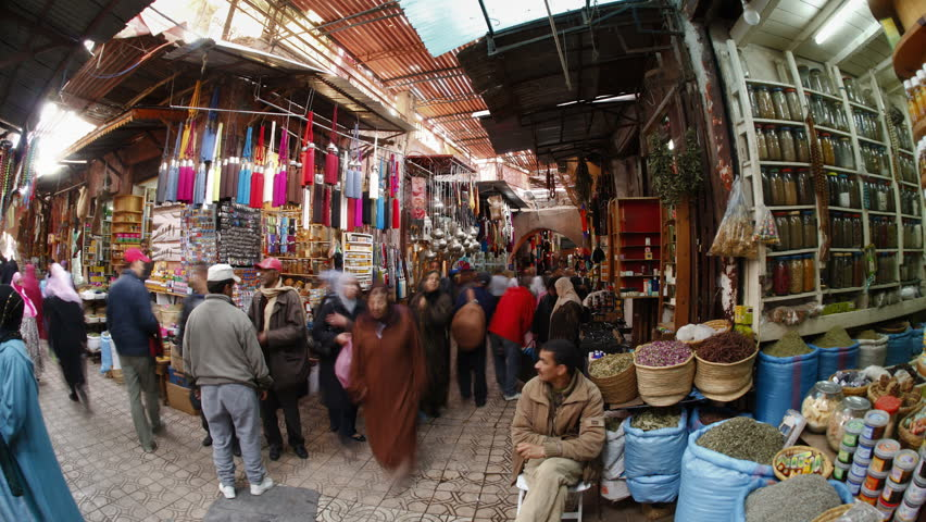 MARRAKESH, MOROCCO - CIRCA MAY 2011: Interior shot of the Souq and people in Marrakech, Morocco.