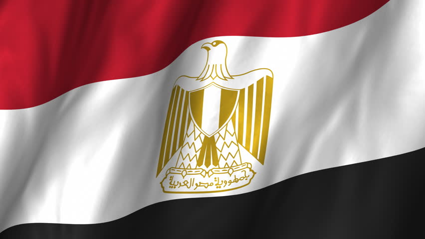 A beautiful satin finish looping flag animation of Egypt.    A fully digital rendering using the official flag design in a waving, full frame composition.  The animation loops at 10 seconds.   - HD stock video clip