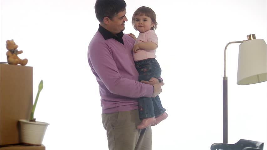 Father and daughter preparing a move