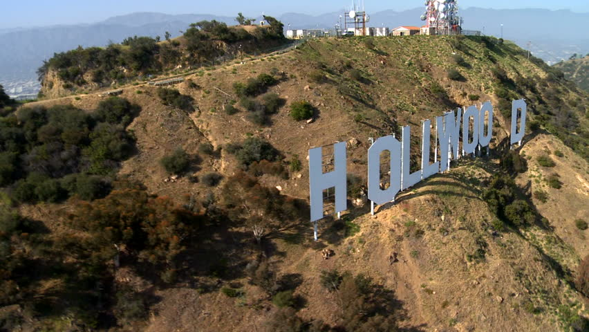LOS ANGELES - CIRCA MAY 2012: Aerial of the Hollywood Sign - Los Angeles California - Circa May 2012 - HD stock footage clip