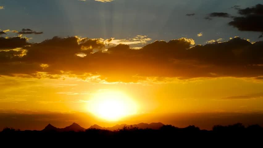 The sun setting in the Arizona desert