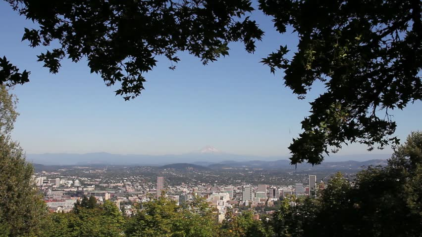 Scenic View of Portland Oregon Cityscape with Mount Hood and Trees 1920x1080 - HD stock video clip