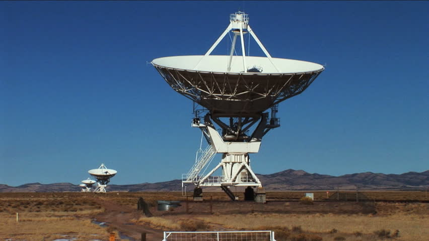 Radio telescopes scanning the skies - HD stock footage clip