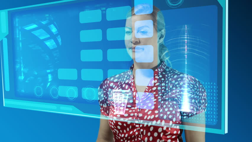 Woman using a touch screen to choose and arrange photos. - HD stock footage clip