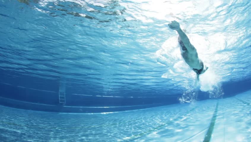 underwater view professional swim training in swimming pool, freestyle crawl