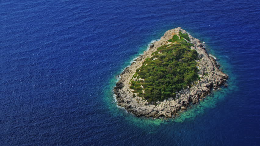Helicopter aerial shoot of small island near Mljet - a tourist destination in Dubrovnik archipelago, Croatia - HD stock footage clip