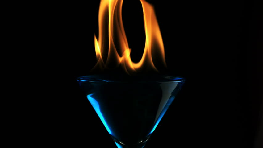 Fire blowing out of martini glass shooting with high speed camera, phantom flex.