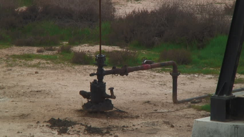 Close-Up View, Of Oil Well From Ground - HD stock footage clip