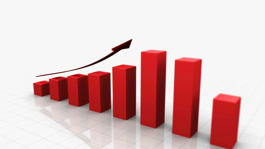 3D Growing Business Chart in Red with Climbing Arrow. Different variations of this file as well as many other business related animations available in my Contributor Gallery. - HD stock footage clip