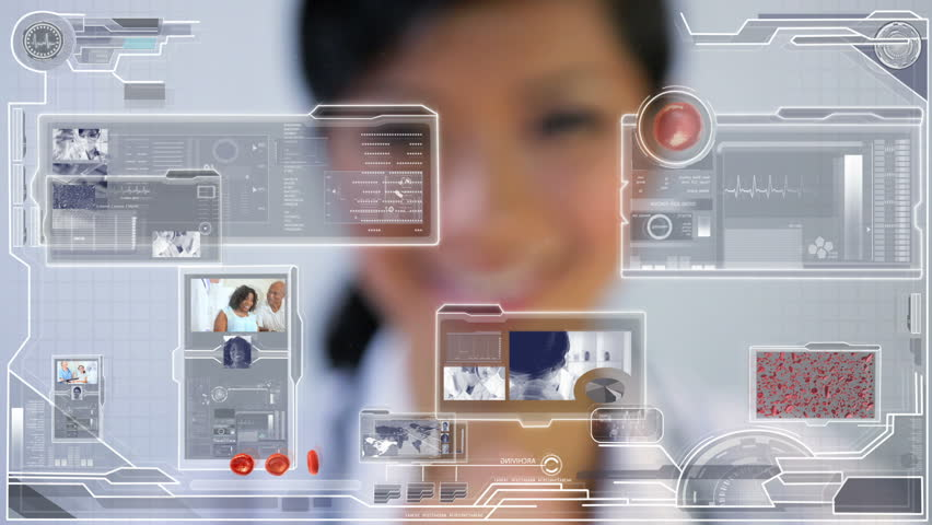 Medical science touchscreen graphic technology being accessed by female Asian doctor in a modern medical facility