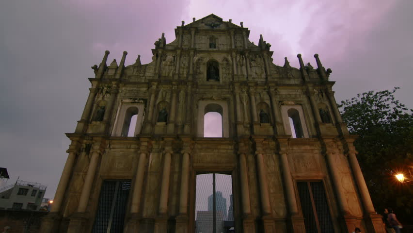 Ruins of St.Paul cloudy skyTime lapse in Macau