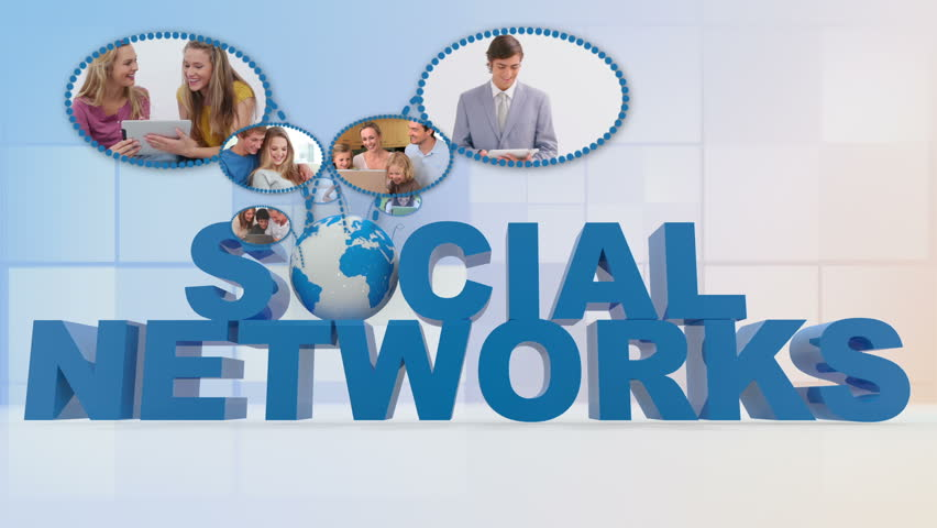 Montage of people using media for social networking on blue backgroud - HD stock video clip