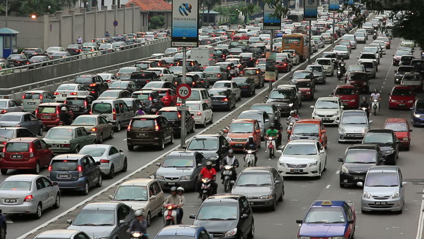 KUALA LUMPUR - MARCH 2012: traffic jam in city center - HD stock footage clip