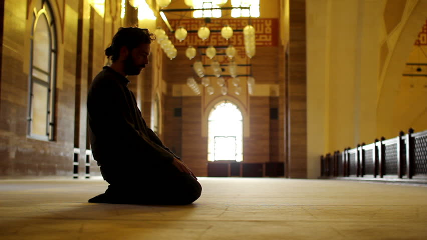muslim man worship inside mosque - HD stock video clip
