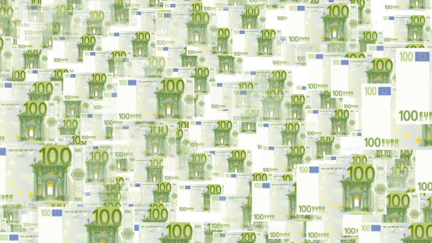"""Flying """"through the money"""". 3D, seamless, loopable fly through a field of flying euro bills.  - HD stock video clip"""