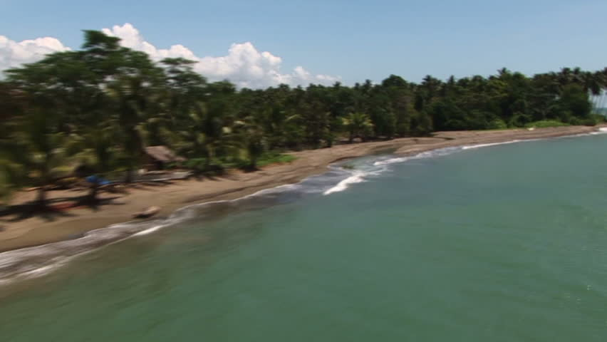 Flying over a tropical beach in the Philippines