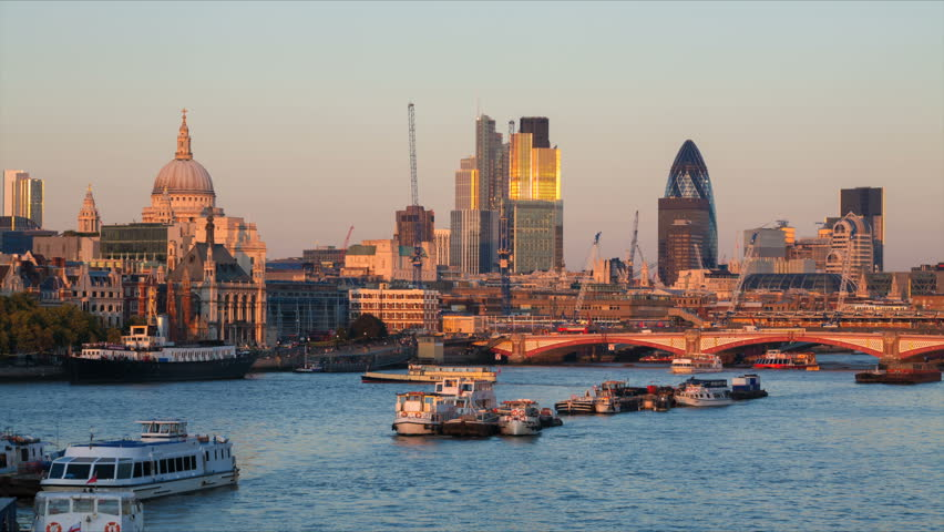 City of London skyline at sunset - zoom in
