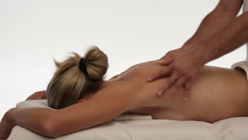 dolly shot woman relaxing back massage isolated - HD stock video clip