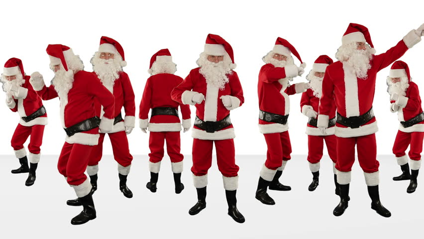 Bunch of Santa Claus Dancing Against White, Christmas Holiday Background, Alpha Matte