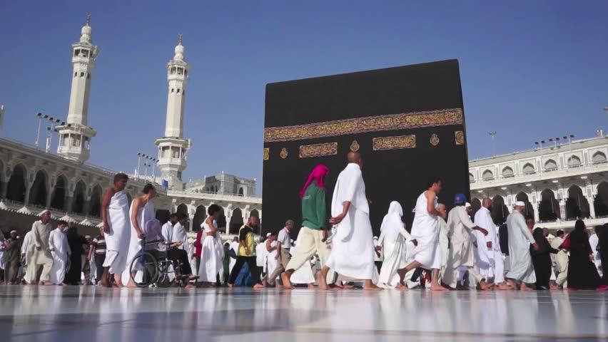 MAKKAH, SAUDI ARABIA - FEB 20: Muslim pilgrims circumambulate the Kaaba at Masjidil Haram on February 20, 2012 in Makkah, Saudi Arabia. Muslims all around the world face the Kaaba during prayer time.