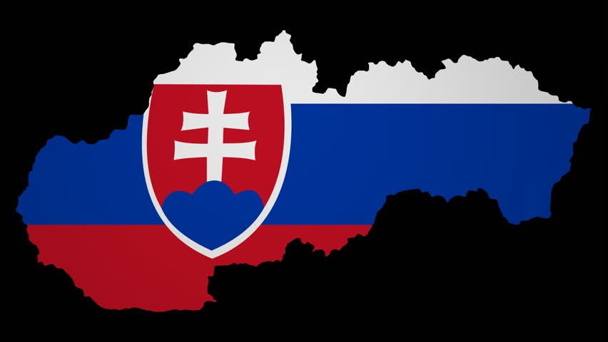 Slovakian Flag Waving In Wind With Clouds In Background ...
