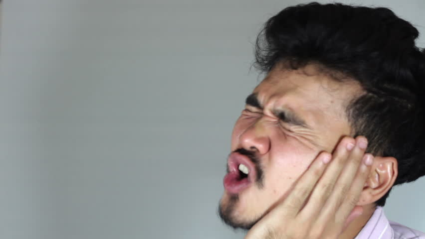 hd video of male have toothache after drink a cold drink/caries/hd video of male have toothache after drink a cold drink - HD stock footage clip