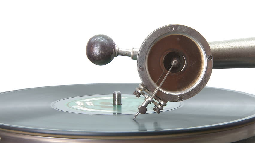 Antique Gramophone playing a disc