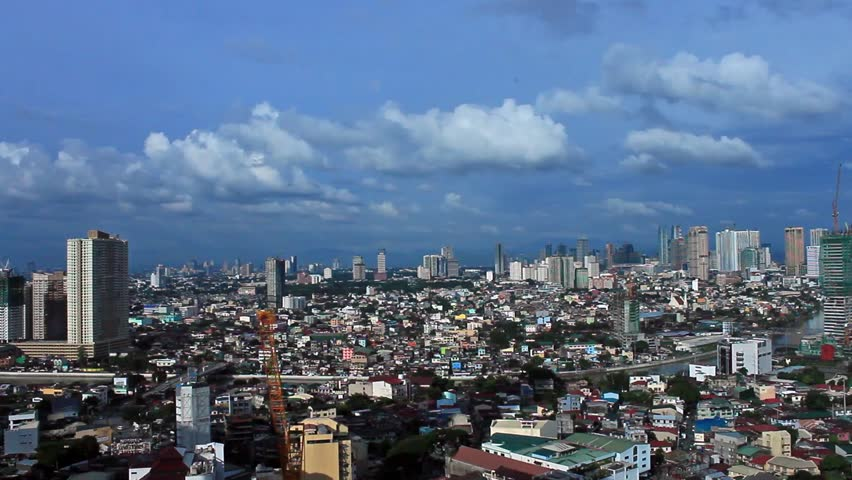 Clouds under city. Manila, Philippines